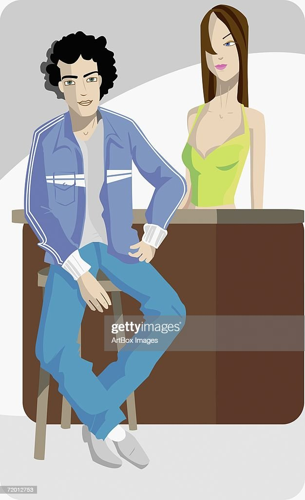 Young Woman Standing Behind A Young Man Sitting On A Bar