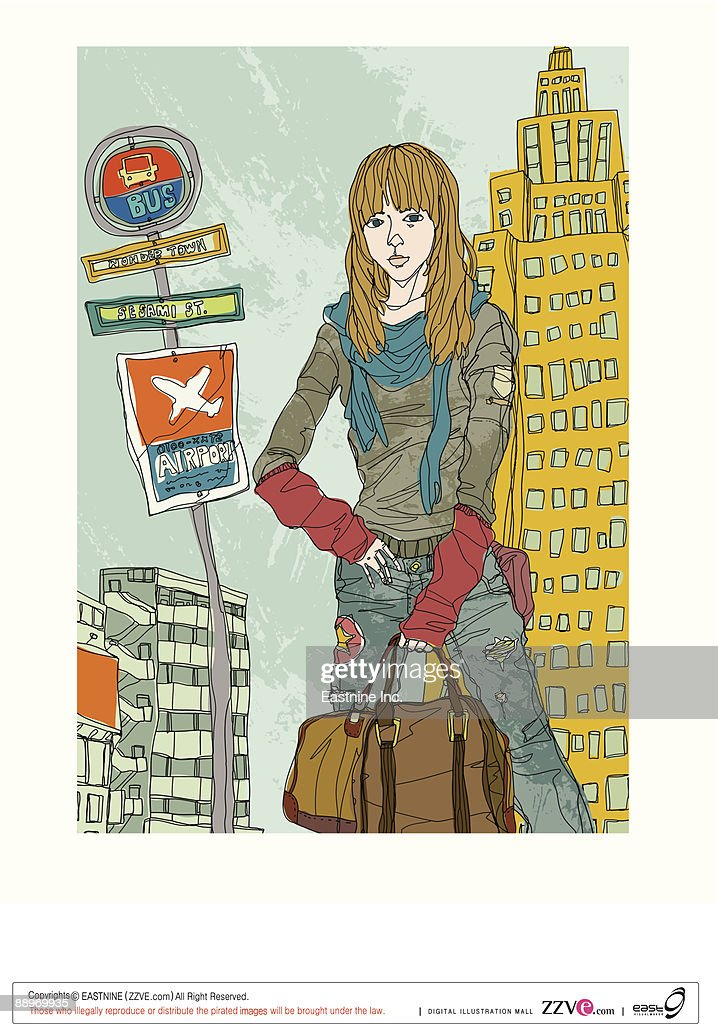Young woman standing, holding bag : Vector Art