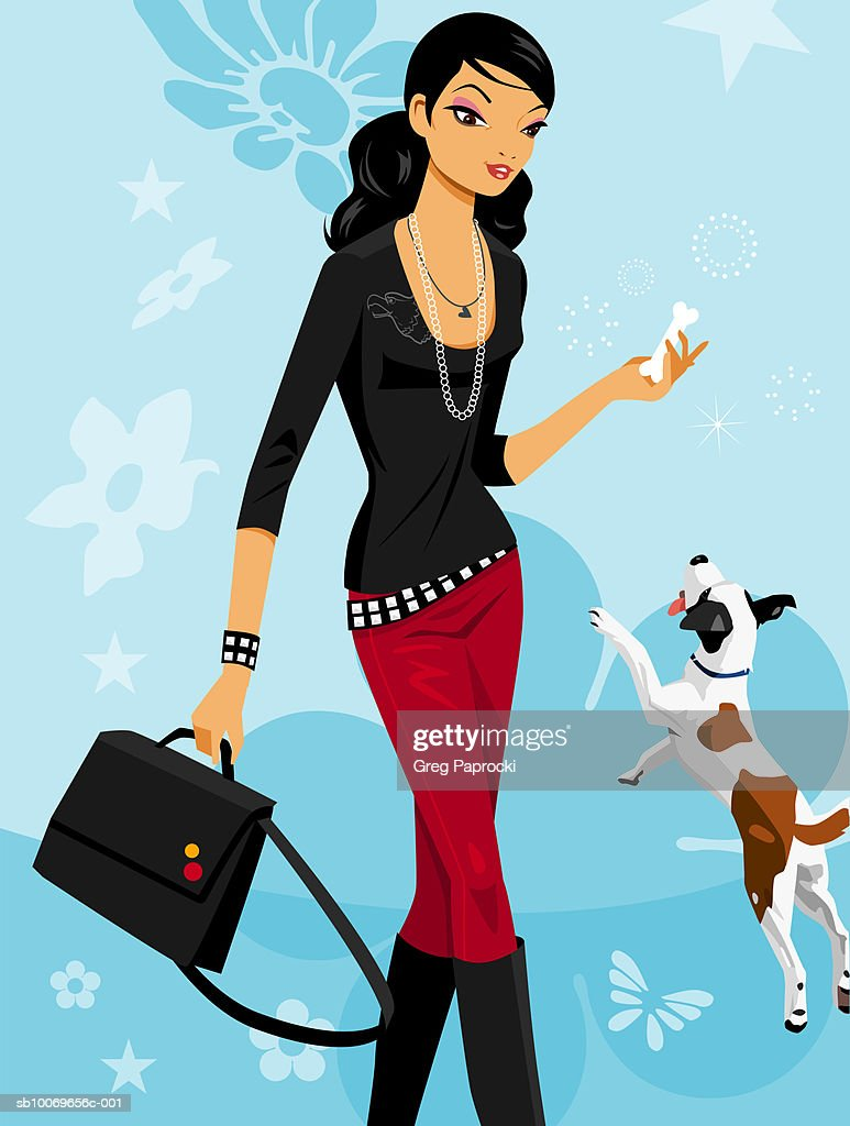 Young woman throwing bone for dog : Stock Illustration