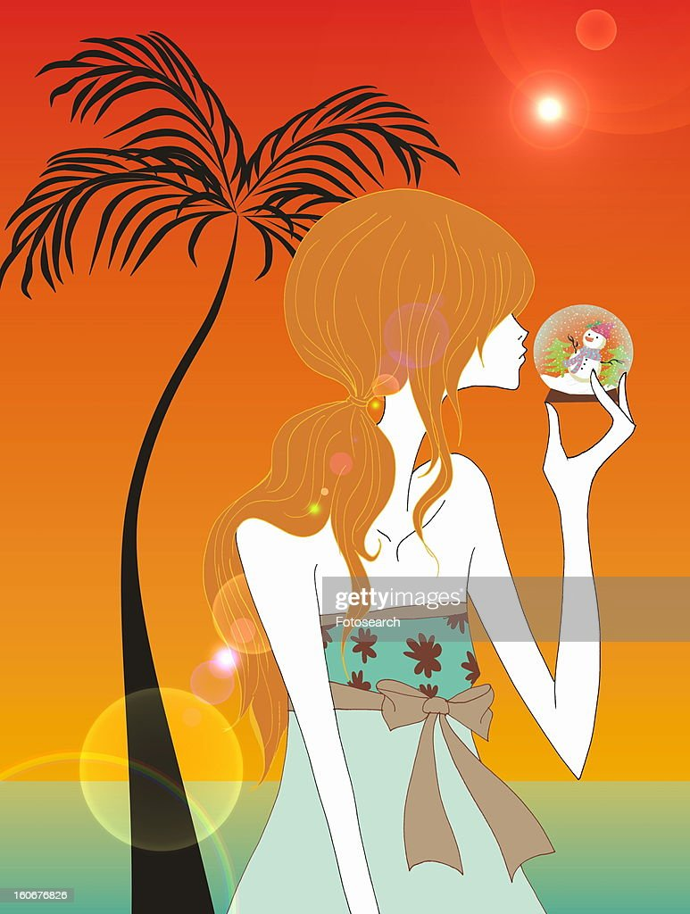Young woman with glass ball snow man on tropical beach : Stock Illustration