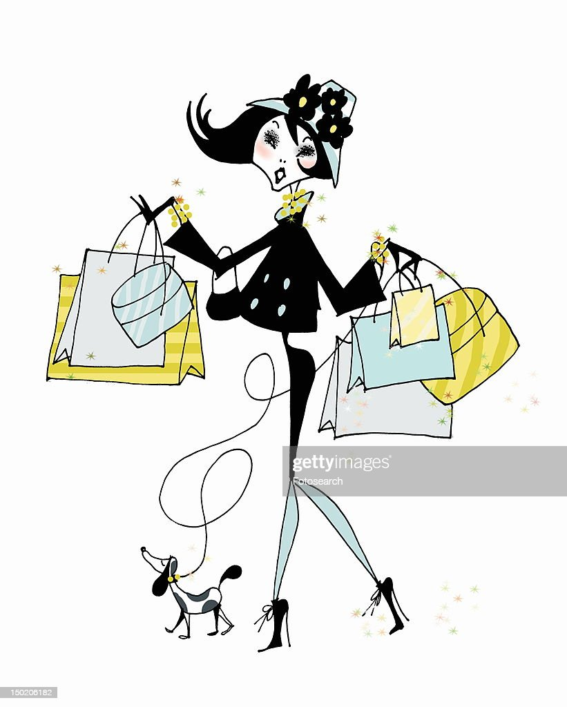 Young woman with many shopping bags and small dog : Stock Illustration