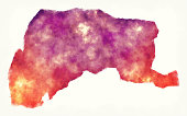 Yunlin County watercolor map of Taiwan in front of a white background