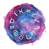 zodiac horoscope symbols watercolor illustration