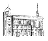 'Antique engraving of the Zurich Grossmunster in Switzerland. Illustration published in Systematische Bilder-Gallerie, Karlsruhe und Freiburg (1839).SEE MORE CHURCHES AND CATHEDRALS HERE:'