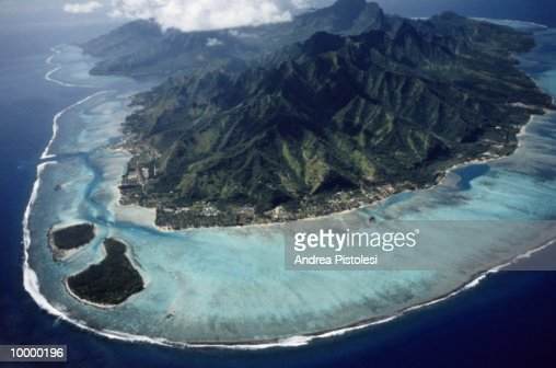 AERIAL OF MOOREA ISLAND IN FRENCH POLYNESIA : Stock Photo