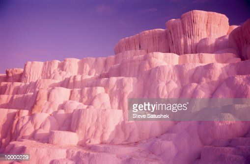 TRAVERTINE TERRACES IN PAMUKKALE, TURKEY : Stock Photo