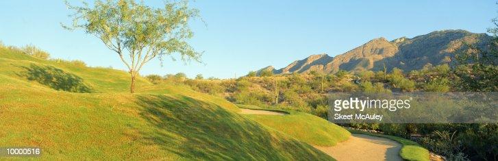13TH GREEN AT VENTANA CANYON IN TUCSON, ARIZONA : Stock Photo