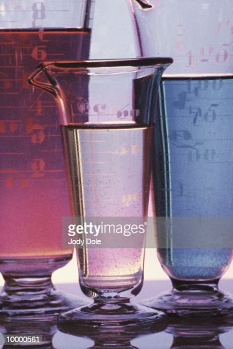 LIQUID-FILLED BEAKERS : Stock Photo