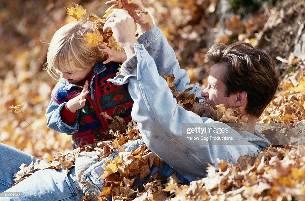 FATHER & CHILD PLAYING IN LEAVES : Stock Photo
