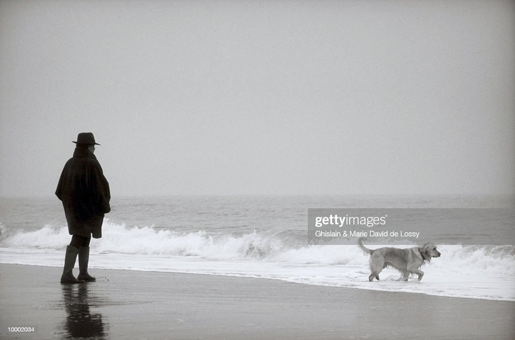 WOMAN WITH DOG ON BEACH : Bildbanksbilder