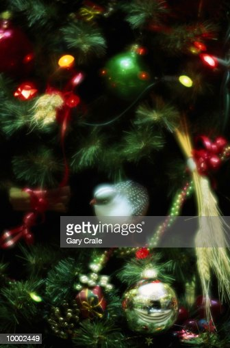 DECORATED CHRISTMAS TREE IN PORTUGAL IN DETAIL : Stock Photo