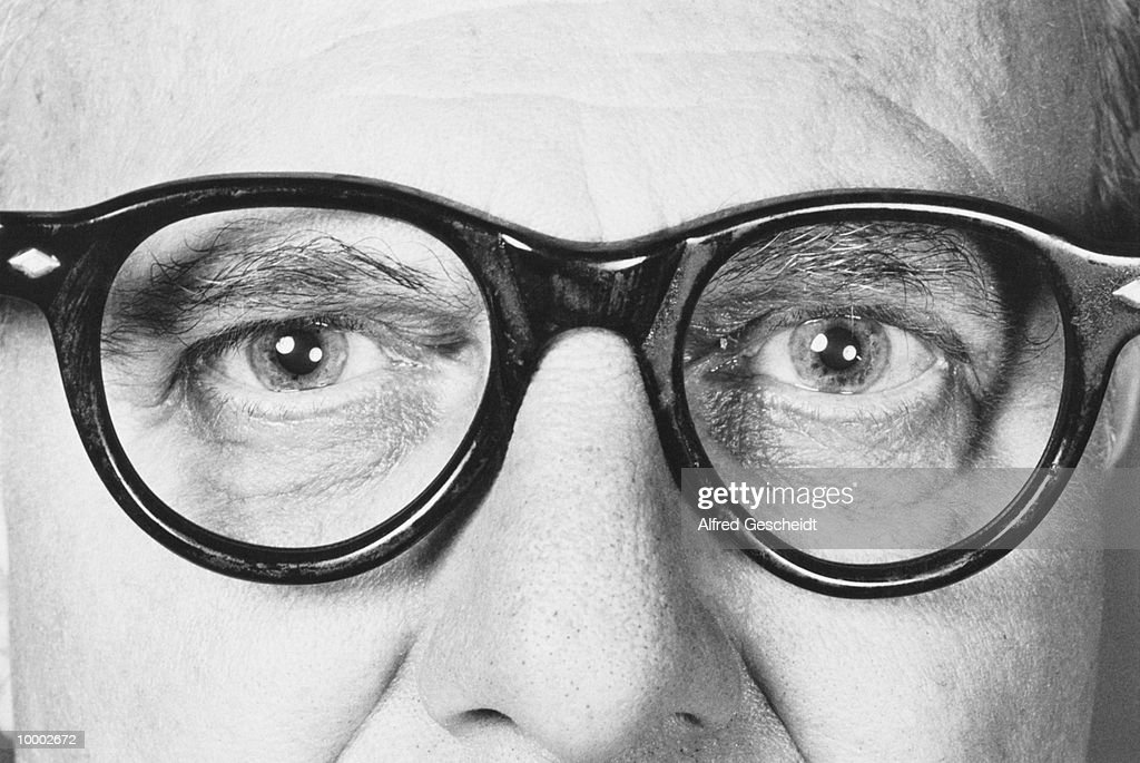 MATURE MAN IN GLASSES IN DETAIL : Stock Photo