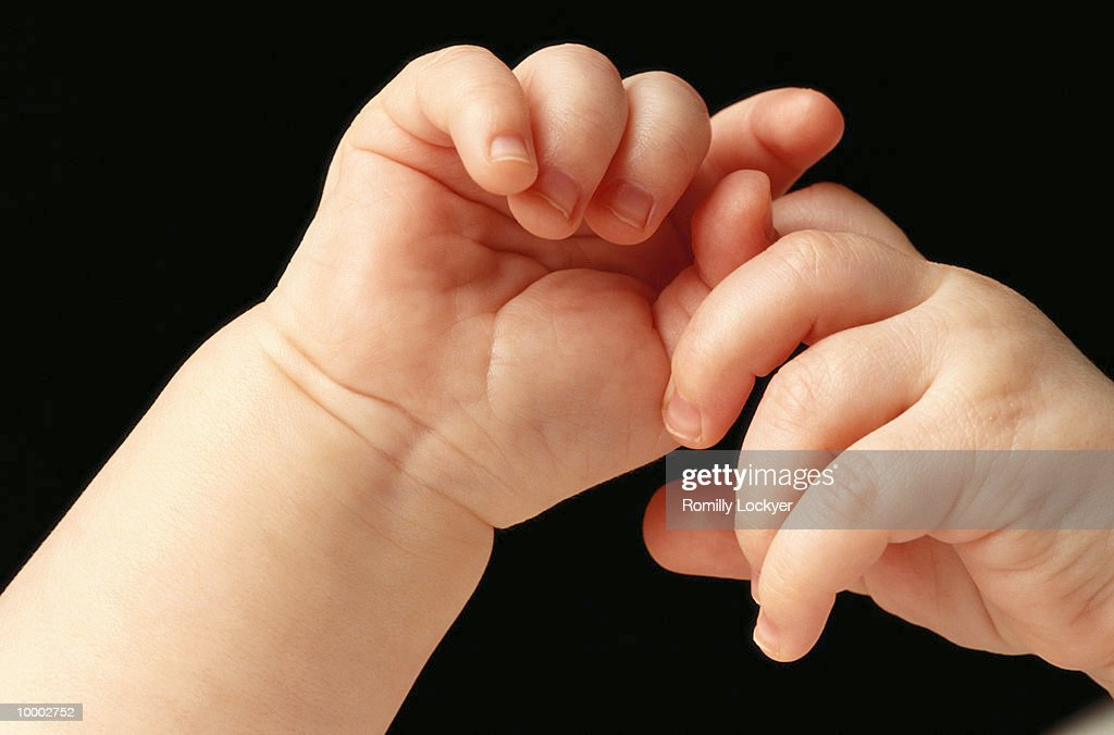 BABY'S INTERLOCKED HANDS IN DETAIL : Stock Photo