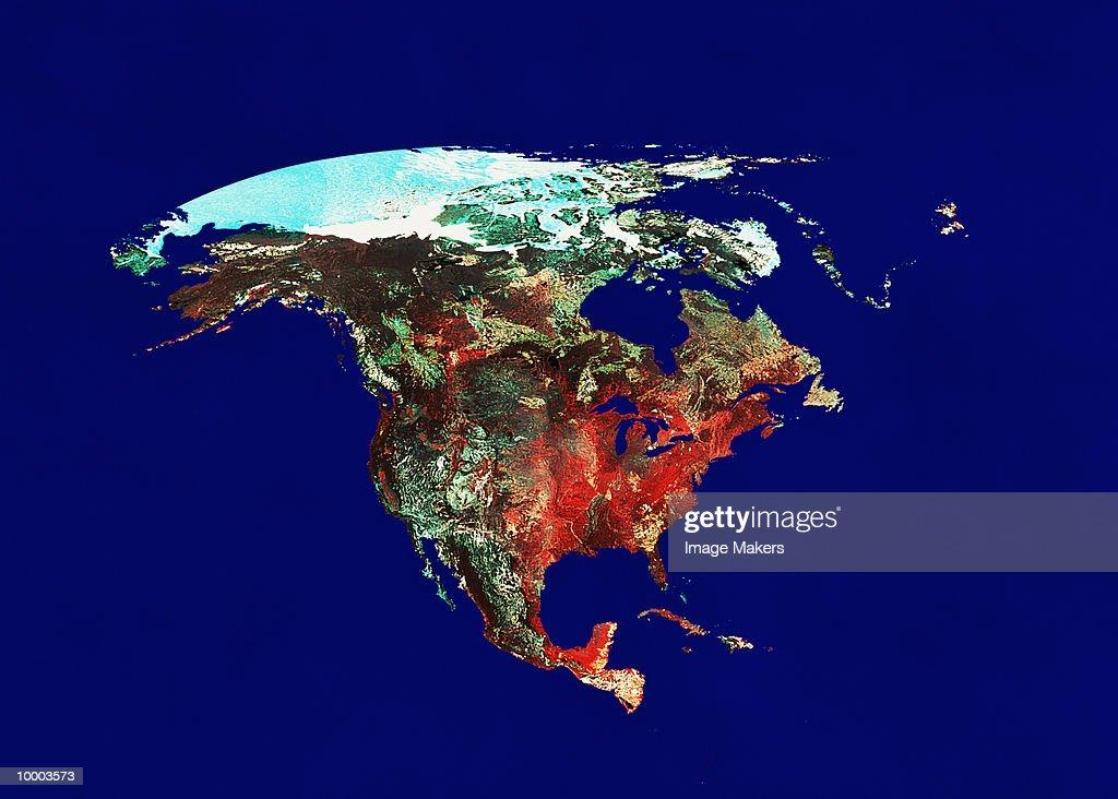 SATELLITE VIEW OF INORTH AMERICA ON BLUE : Stock-Foto