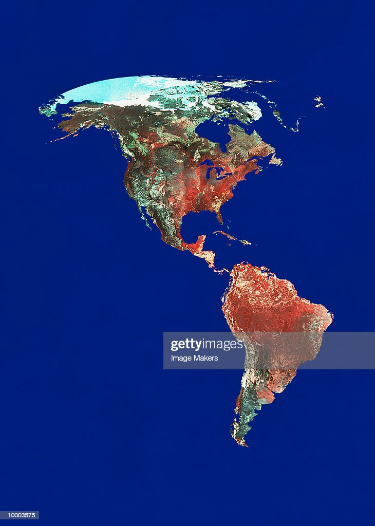 SATELLITE VIEW OF AMERICAS ON BLUE : Stock Photo