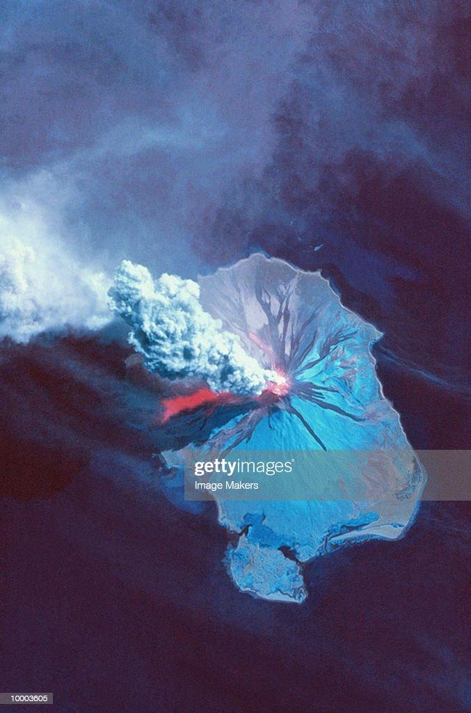 SATELLITE VIEW OF AUGUSTINE VOLCANO IN ALASKA : Stock Photo