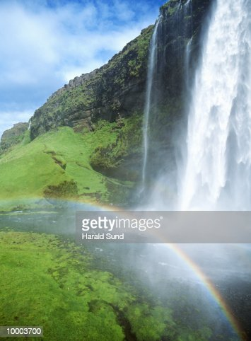 WATERFALL SKOGAFOSS & RAINBOW IN ICELAND : Stock-Foto