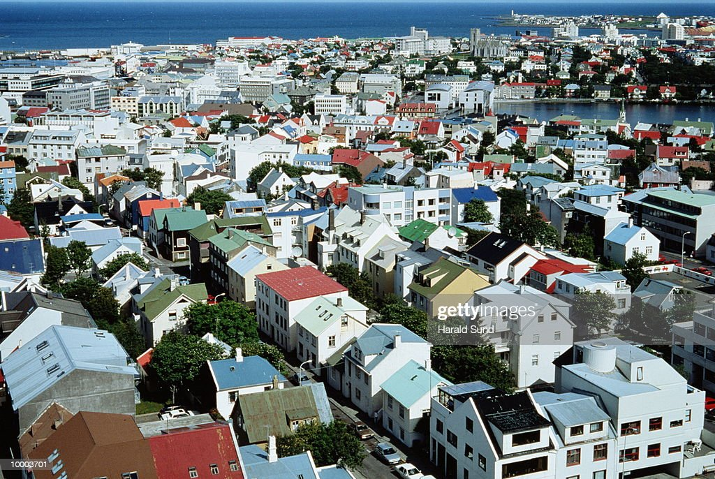 OVERVIEW OF CITY IN REYKJAVIK, ICELAND : Stock Photo