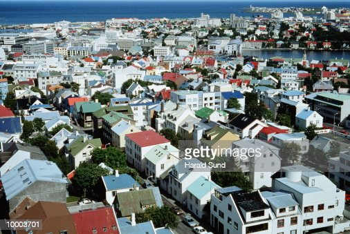 OVERVIEW OF CITY IN REYKJAVIK, ICELAND : Stockfoto