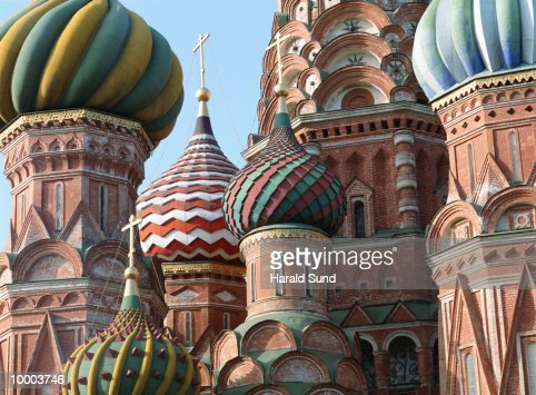 SAINT BASIL'S CATHEDRAL AT RED SQUARE IN MOSCOW : Stock Photo