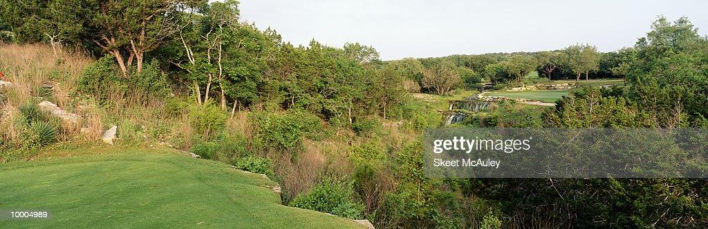 8TH GREEN AT BARTON CREEK IN AUSTIN, TEXAS : Stock Photo