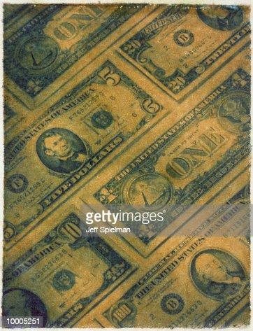 POLAROID TRANSFER OF UNITED STATES BANKNOTES : Stock Photo