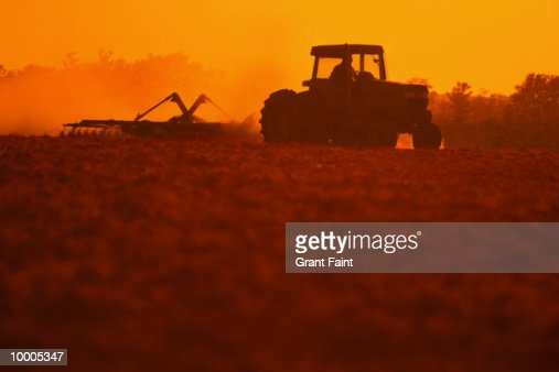 TRACTOR PLOWING FIELD AT SUNSET : Stock Photo