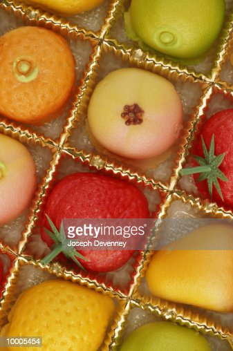 FRUIT SHAPED CANDY IN BOX : Stock Photo