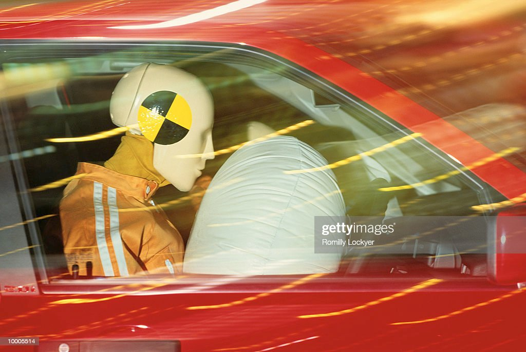 AIR SAFETY BAG DEMO IN CAR WITH DUMMIES : Stock Photo