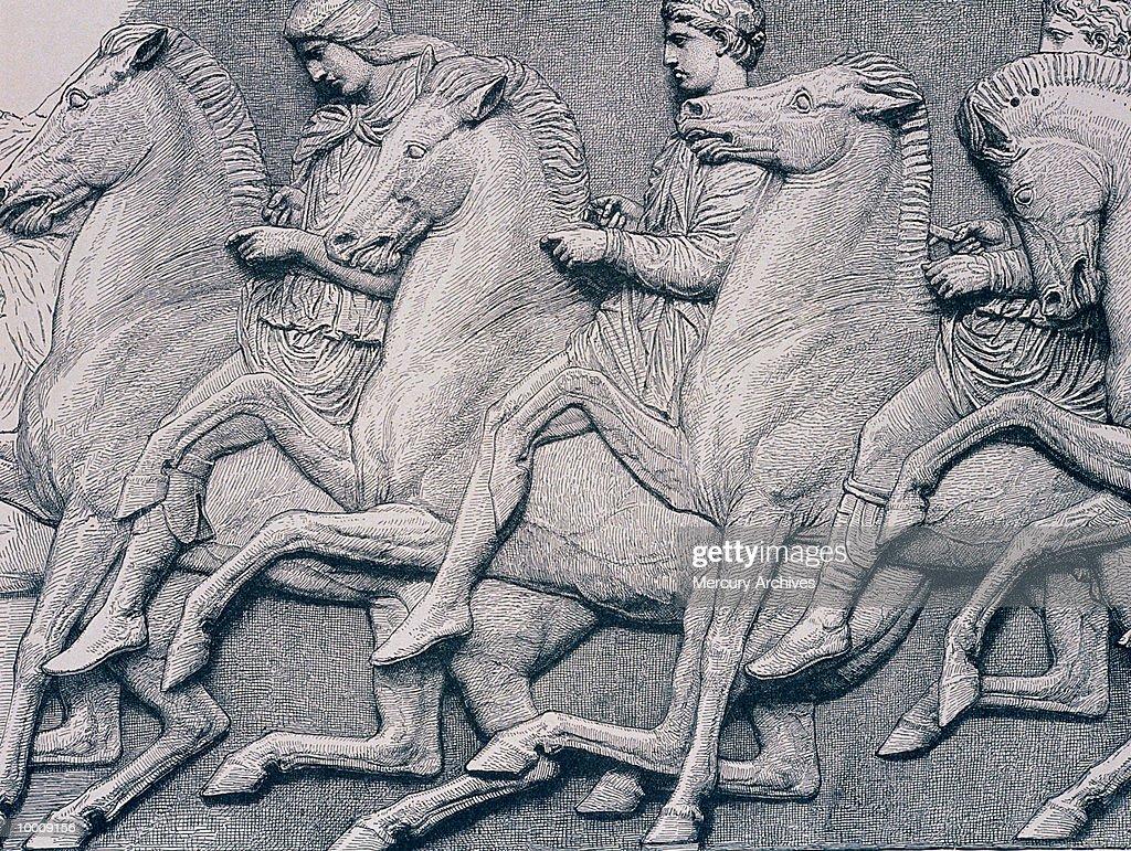 ART: HORSES FROM THE PARTHENON FRIEZE : Foto de stock