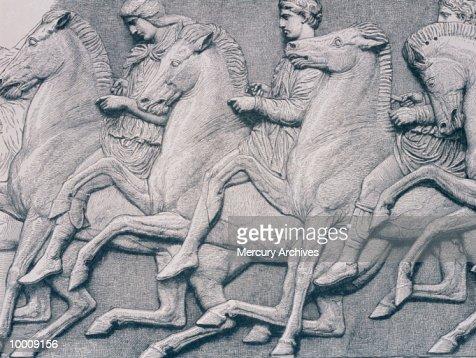 ART: HORSES FROM THE PARTHENON FRIEZE : Stock Photo