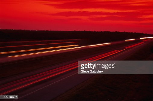 INTERSTATE FREEWAY AT NIGHT IN OKLAHOMA IN BLUR : Stock Photo