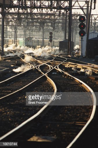 RAILROAD TRACKS AT SWITCHING YARD : Stock Photo
