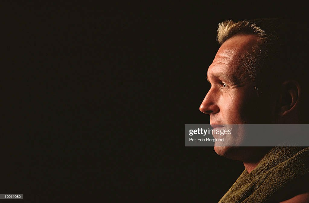 PROFILE OF A MIDDLE-AGED MAN'S FACE : Stock Photo