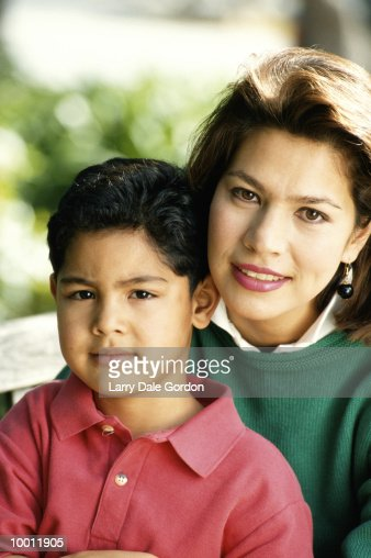 PORTRAIT OF A HISPANIC MOTHER & SON : Stock Photo