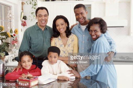 THREE GENERATION BLACK FAMILY PORTRAIT : Stock Photo
