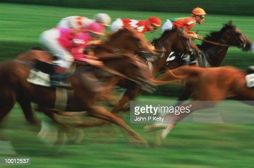 HORSE RACE IN BLUR IN CALIFORNIA : Foto de stock