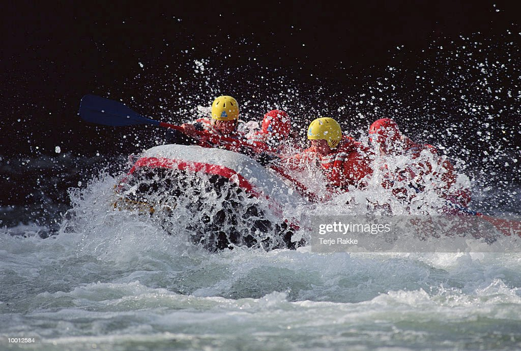 RIVER RAFTERS IN WHITE WATER : Stock Photo