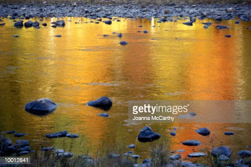 FALL TREE COLORS REFLECTED IN LAKE IN VERMONT : Stock Photo