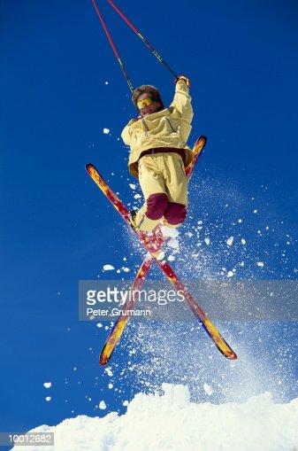 HOT DOG SKIER IN MIDAIR : Stock Photo