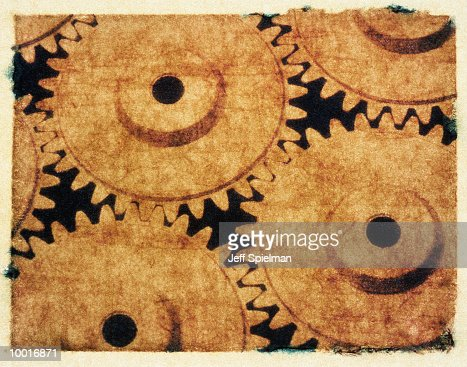 POLAROID TRANSFER OF GEARS IN ABSTRACT