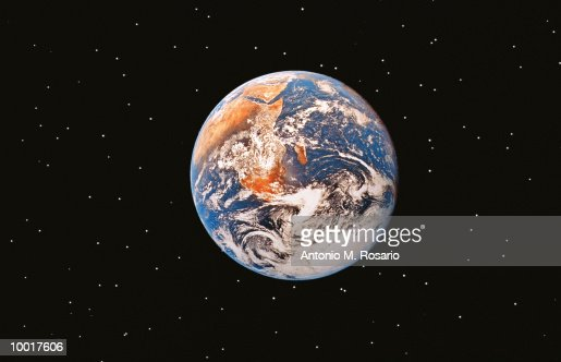 FUTURISTIC VIEW OF EARTH IN SPACE : Stock Photo