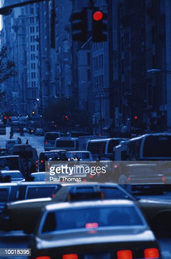 RUSH HOUR TRAFFIC ON FIFTH AVENUE IN NEW YORK CITY : Stock Photo