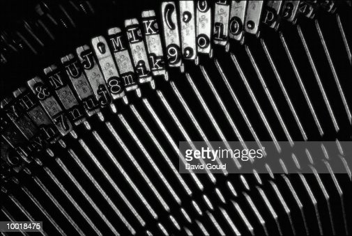 TYPEWRITER TYPE-FACE IN BLACK AND WHITE : Stock Photo