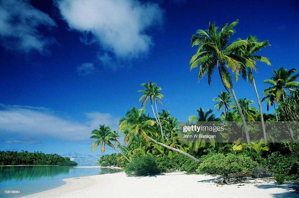 BEACH AT AITUTAKI IN THE COOK ISLES IN POLYNESIA : Stockfoto