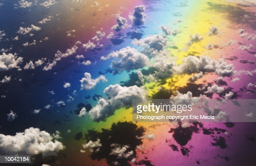 CLOUDS AND RAINBOW : Stock Photo