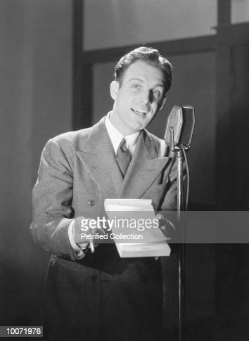 Radio Announcer At Microphone 1936 Stock Photo
