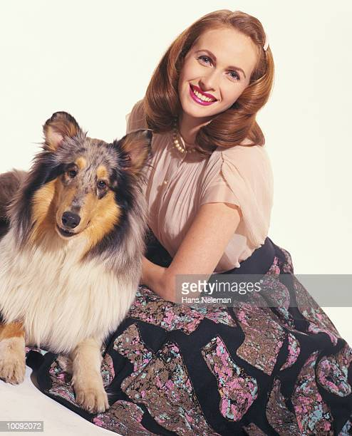 50S WOMAN WITH COLLIE
