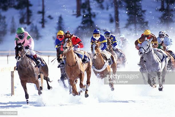 HORSERACING ON FROZEN LAKE IN SAINT MORITZ, SWITZERLAND