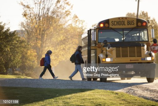 SCHOOL BUS IN LANDGROVE, VERMONT : Stock Photo